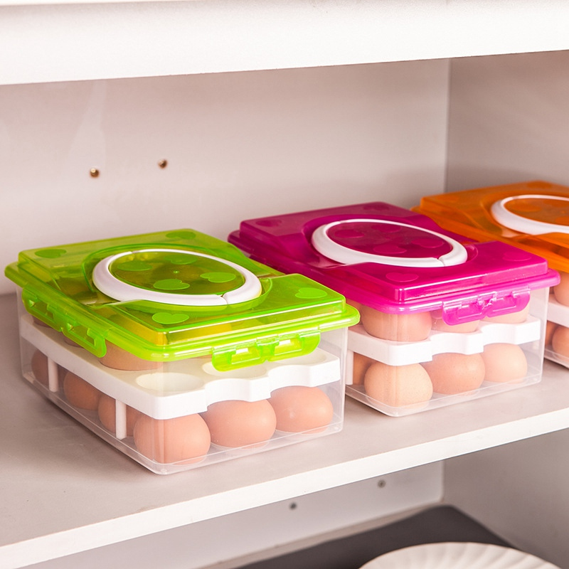 Cocina Caja de almacenamiento de huevos 24 Caja de huevos de rejilla Organizador de contenedores de alimentos Cajas para almacenamiento de doble capa Huevo multifuncional Trituradora