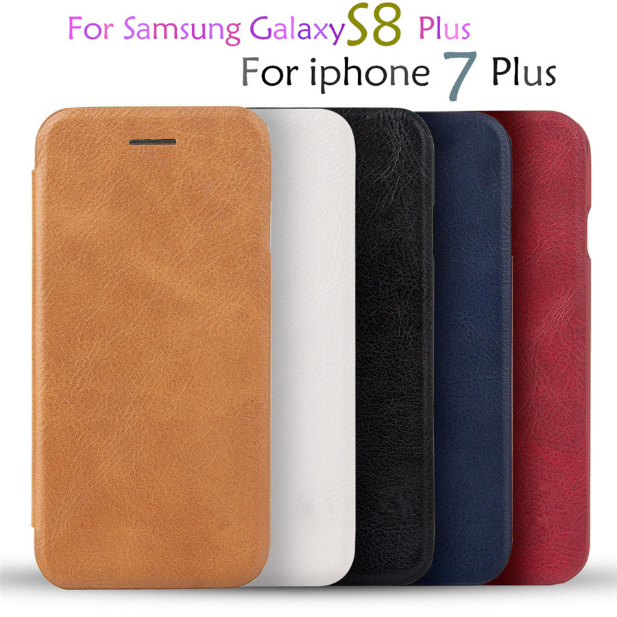For Samsung Galaxy S8 Plus A7 2017 Leather font b Wallet b font Card Slot Shockproof