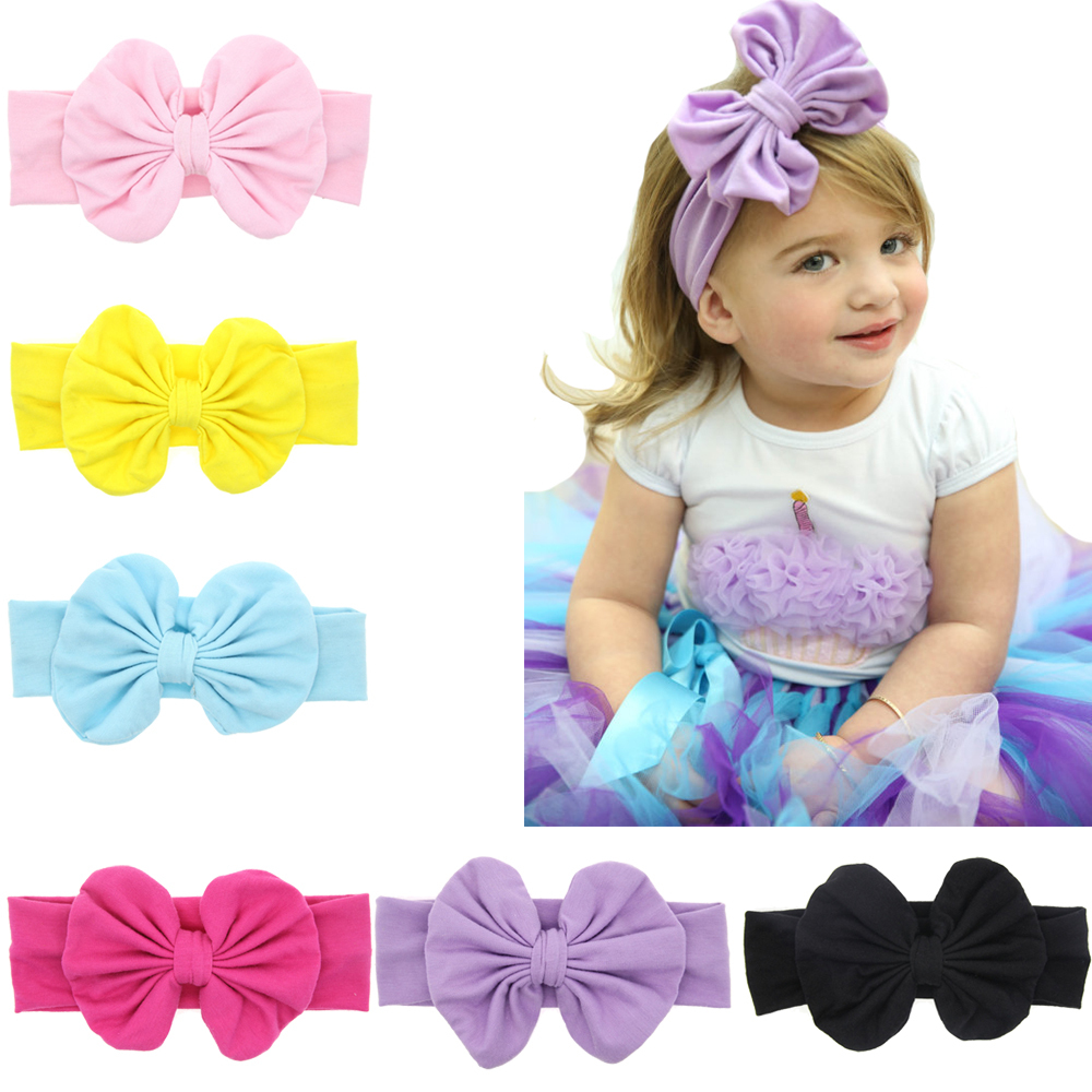 TWDVS Kids Big Bow Knot Hair band Newborn Elastic hair Bow Accessories Ring Cotton headband Head Wrap Headwear W138 twdvs kids cotton knot hair band newborn elasticity ring hair accessories turban wrap headband bow hair accessories w224