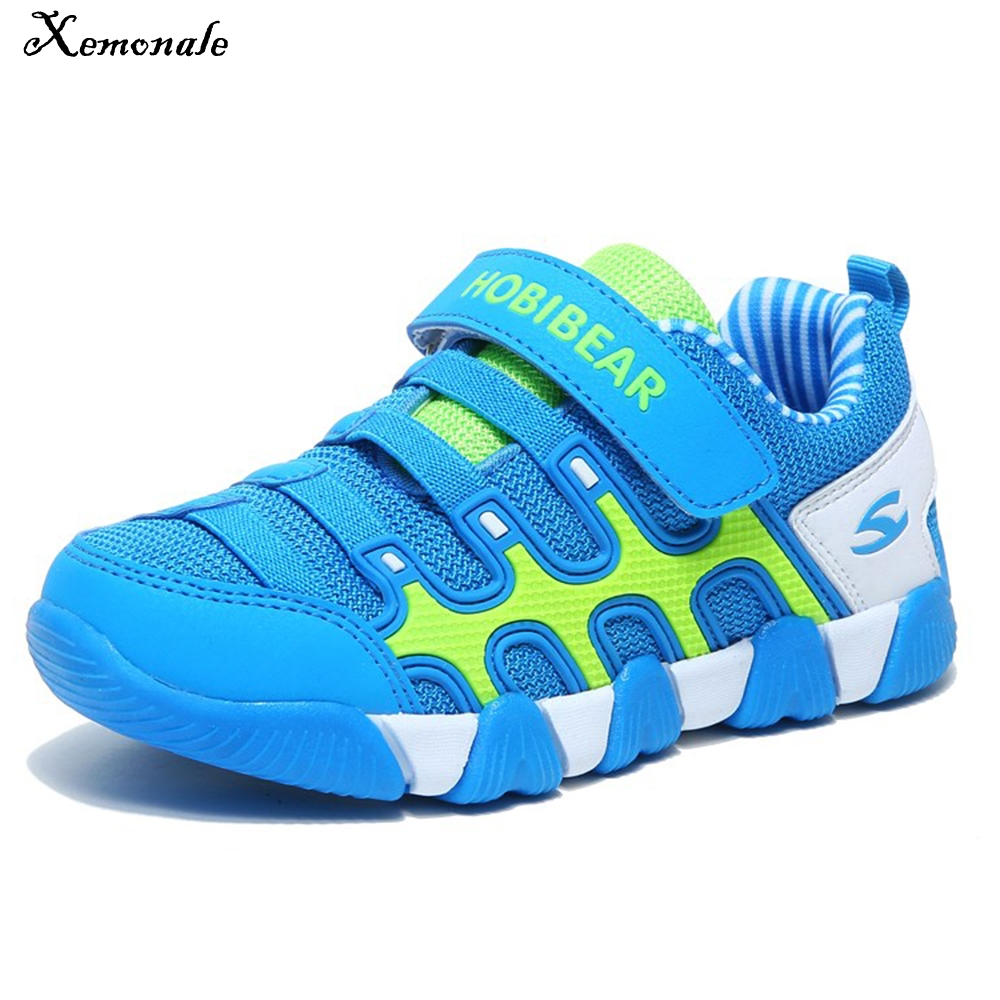 Xemonale Sport Children Shoes Boys Sneakers For Girls Shoes Running Mesh Fabric Leather Breathable Kids Sneaker Hook&Loop School