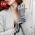 Мода Зимние Перчатки Женские Шерстяные и Кожаные Перчатки для Женщин Цветок Вышивка Короткие Перчатки Женские Элегантные Серые Guantes Mujer