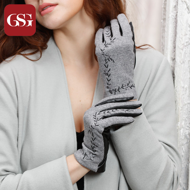 Fashion Winter Gloves Women Wool & Leather Gloves for Ladies Flower Embroidery Short Gloves Female Elegant Grey Guantes Mujer