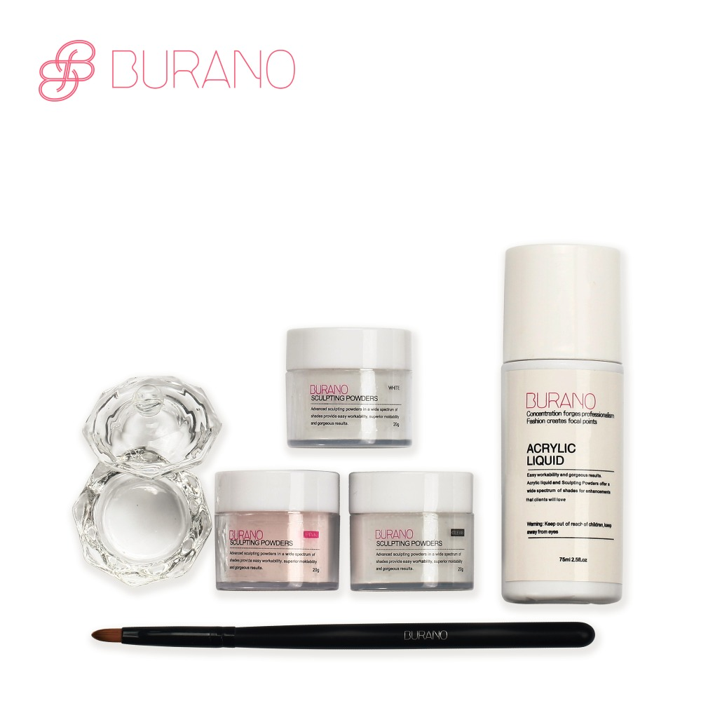 BURANO Acrylic Powder & Brush Glitter Nail Tips Buffer Sticker File Gel UV Kit Unghie, Prodotti e Attrezzi potenza 2907 - 2