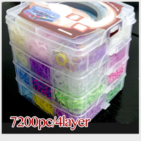 7200pc 4 Layer Gum For Bracelets High Quality Silicone Loom Bands Box Family Set Refills Rubber