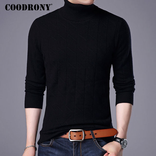 COODRONY 100% Merino Wool Sweater Men 2017 New Autumn Winter Thick Warm  Turtleneck Sweaters And 3ca1dcb81