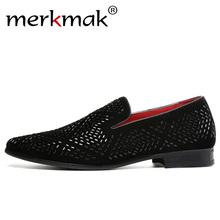 Merkmak Classic Brand Rhinestone Men Loafers Velvet Luxury Charming Business Mature Dress Shoes Big Size 48