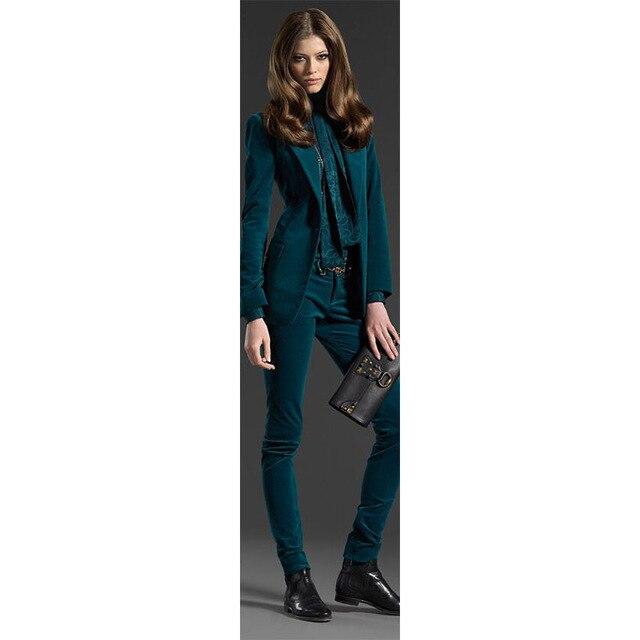 5ee65fafed4 Dark Green 2 piece set women velvet female business suit womens suits blazer  with pant ladies office uniform formal trouser suit