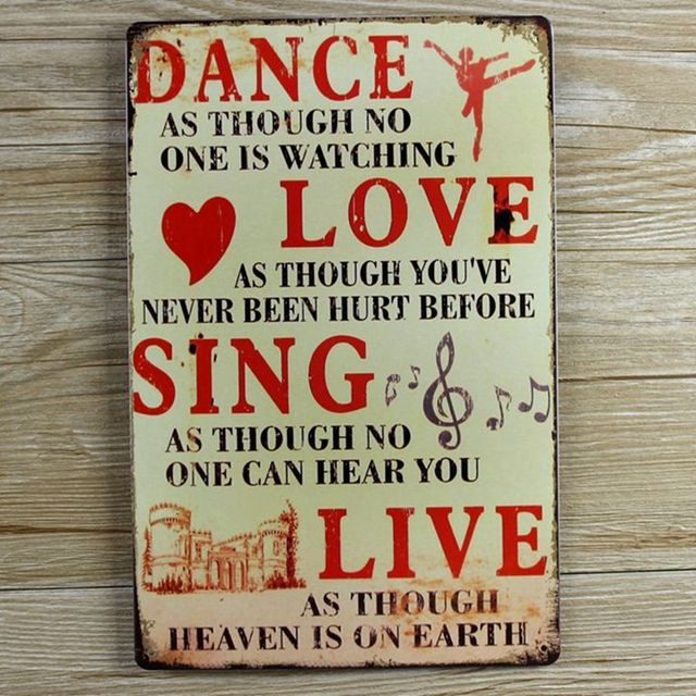 Love Plaques Quotes Glamorous Retro Metal Wall Art Tin Sign Dance Love Sing Live Wall Quote