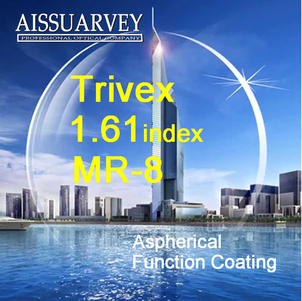 1.61 Index Aspherical Trivex Lenses MR-8 Clear Aspherical Function Green Coating Top Quality Anti-glare Anti-reflection Thin A