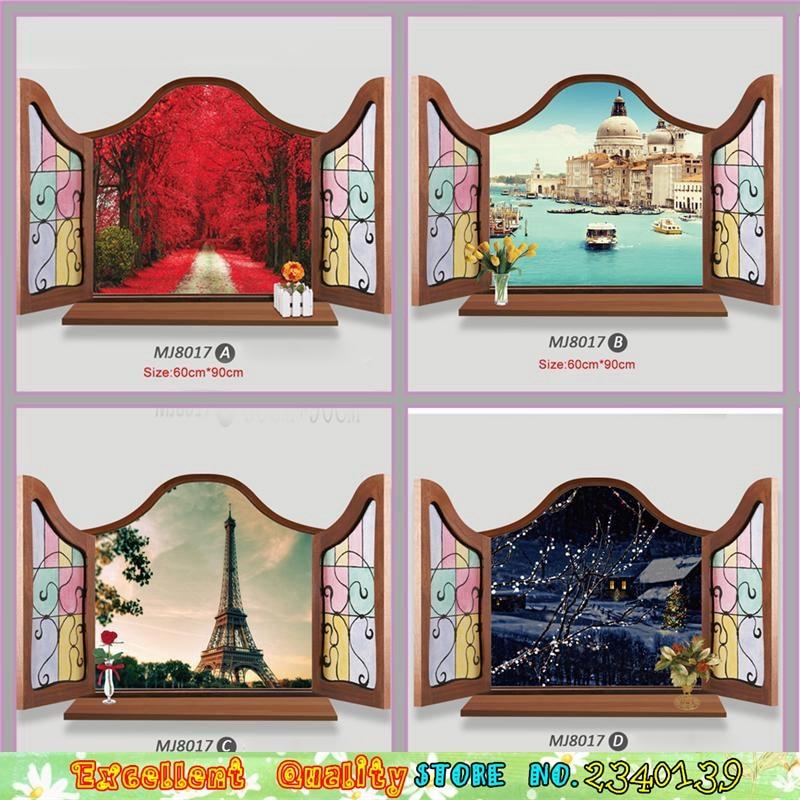 Great 4 Designs 3D Windows Tourist Websites Eiffelturm Venedig Wand Aufkleber Diy  Home Wandmalerei Dekoration Schlafzimmer Pvc Wand Aufkleber In 4 Designs 3D  ...