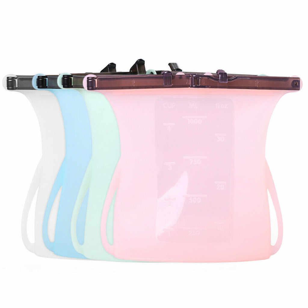 Reusable Seal Silicone Food Fresh Bag Vacuum Sealer Fruit Meat Milk Storage Bags hot sale #20190321