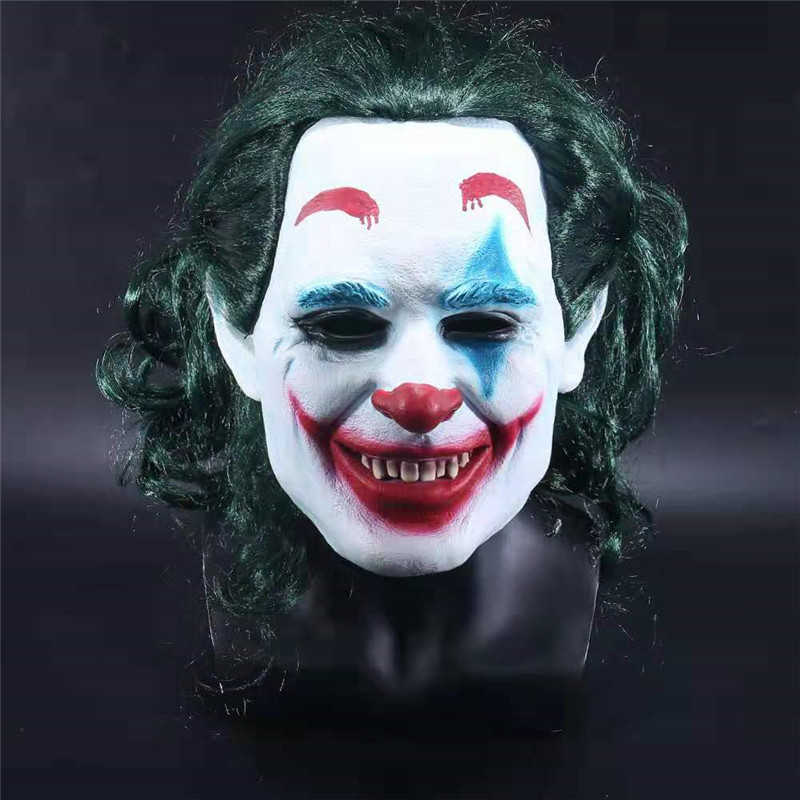 Movie Batman Joker Mask The Dark Knight Cosplay Scary Clown Mask with Green Hair Wig Halloween Horror Latex Mask Party Prop