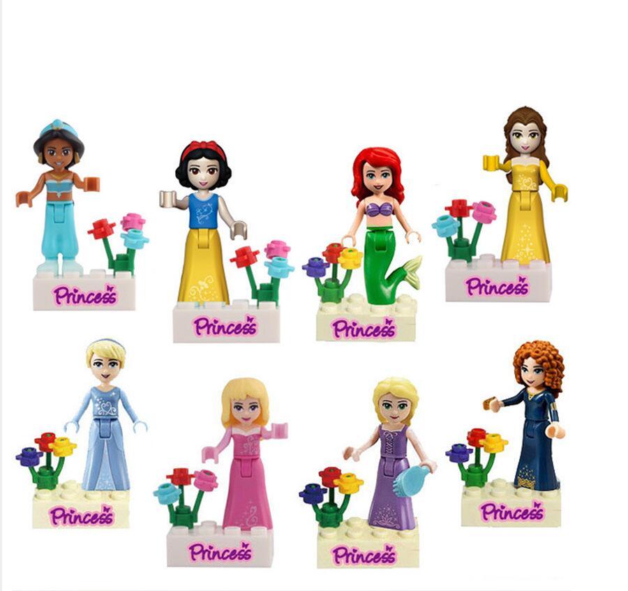 8pcs/set Girl friends Movie Princess Mermaid Elsa Anna Belle Building Blocks Figures Toys princess elsa princess anna action figures 14cm cute figures anime movies figures collection models hot toys christmas gifts