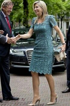 Lace Mother of the Bride Dresses 2019 Vintage Square Knee Length Short Sleeves vestido de madrinha farsali Custom Make 3
