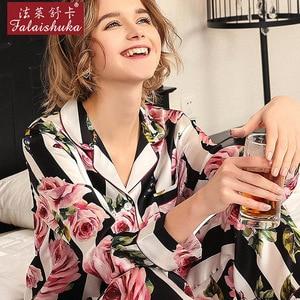 Image 4 - 2020 New Real Silk Pajama Sets Female Romantic Rose Striped Silkworm Silk Long Sleeve Two Piece SILK Womans Sleepwear T8184