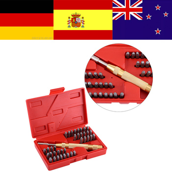 38pc Automatic Letter Number Stamping Metal Punch Stamp Set Tool Kit for Plastics Leather Mark trim removal tool kit marking tools