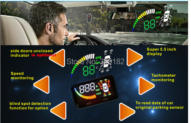 5.5 inch Car HUD head up display speedometer smart car parking system 6sensor,blinddetection speed Techometer monitoring OBD II rastp m9 hud 5 5 inch head up windscreen projector obd2 euobd car driving data display speed rpm fuel consumption rs hud011
