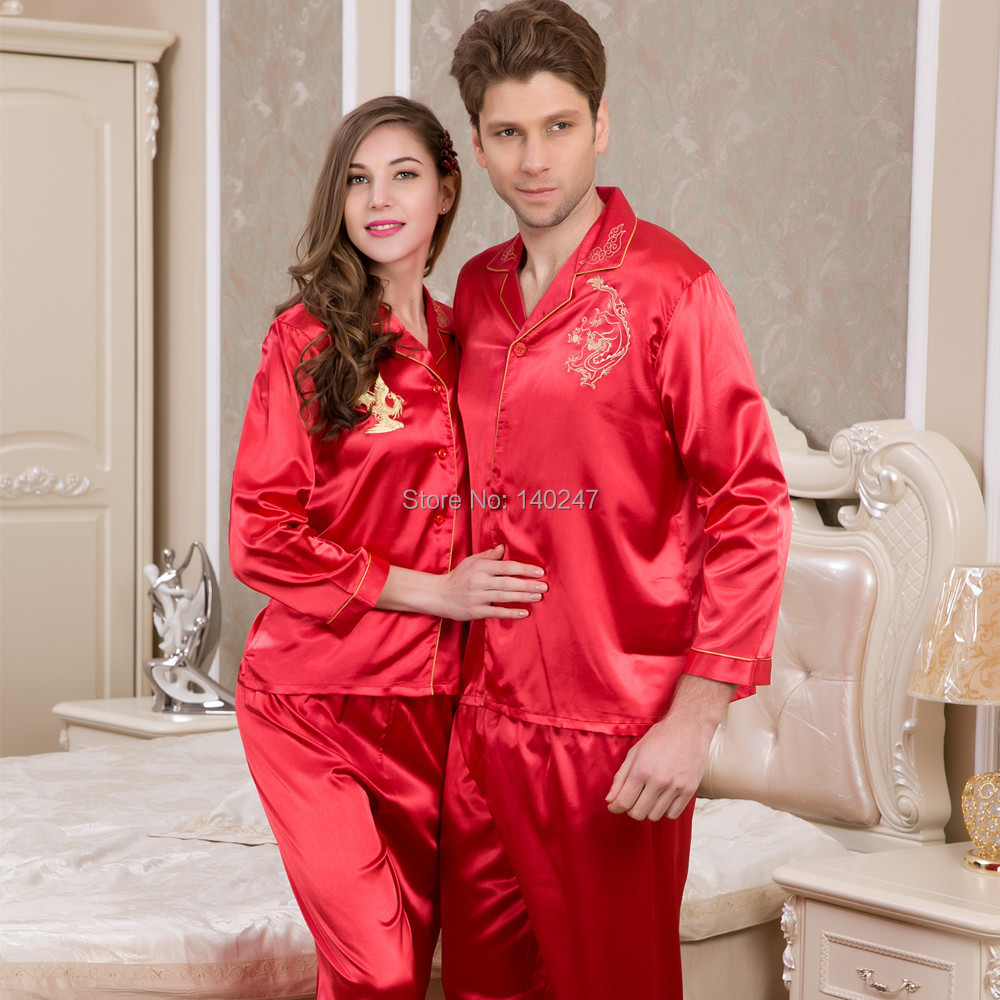 Aliexpress.com : Buy Red Color Marry Silk Pajama Long Sleeve Woman ...