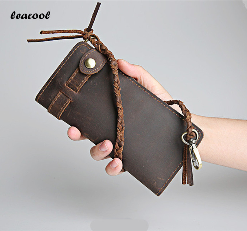 LEACOOL 2017 Vintage Crazy Horse Leather Straw Rope Chain Wallet Bifold Long Wallet Snap Card Holder Purse Zipper Coin Pocket simline vintage genuine crazy horse cow leather men men s long hasp wallet wallets purse zipper coin pocket holder with chain