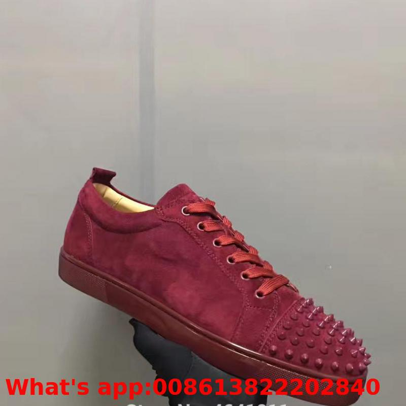 Lace up Trend Women's Leather Red Bottom Shoes Low cut For Men Shoes Wine Red Casual Shoes Couple Models Flat Loafers