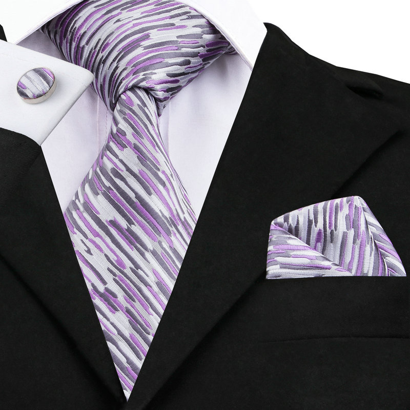 SN-1013 Purple Gray White Novelty Tie Hanky Cufflinks Sets Men's 100% Silk Ties For Men Formal Wedding Party Groom