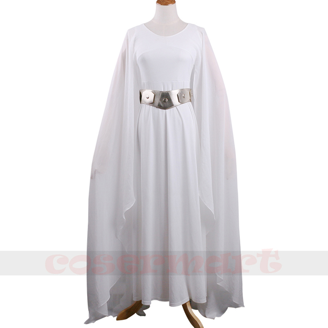 new star wars princess leia costume white dress cosplay costume adult woman with belt halloween. Black Bedroom Furniture Sets. Home Design Ideas