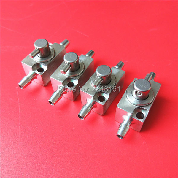 4pcs lot Inkjet printer spare parts Aluminum cleaning valve two ways ink valve device wholesale
