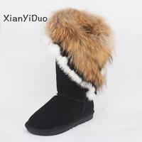 Xianyiduo 2018 зимняя женская обувь Зимние ботинки на меху большие Большие размеры 34 43, круглый носок плюшевые плоская подошва, высота до середины