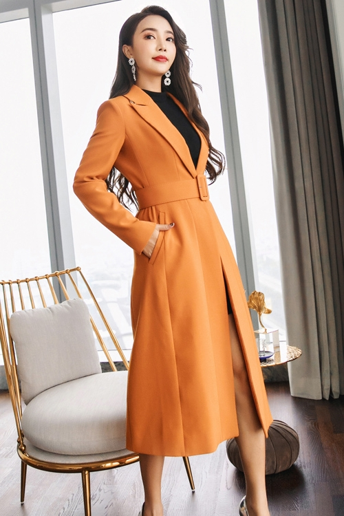 2018 Fashion Autumn/Winter New Women's Casual wool blend trench Solid coat Long coat with belt belt Coat Overcoat