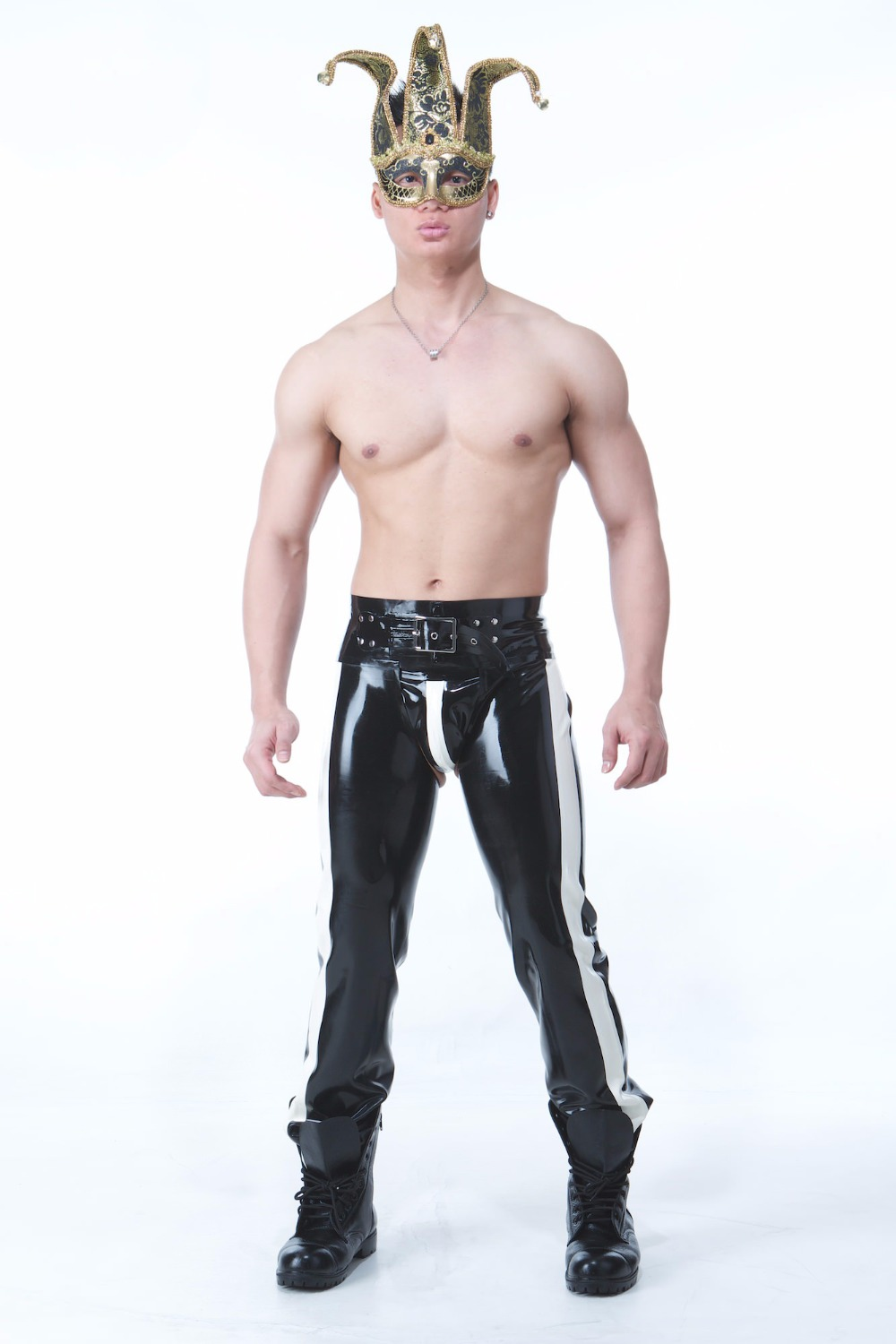 Pantalon de sport en Latex avec ceinture et slips en Latex Sexy pantalon noir en Latex