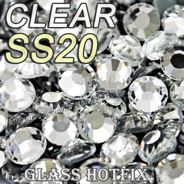 Promotion! SS20 1440pcs/Bag Clear Crystal DMC HotFix FlatBack glass Rhinestones strass,trim heat transfer Hot Fix crystal stones