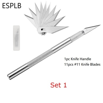 ESPLB Metal Scalpel Knife Blades #11 Non-slip Cutter Engraving Craft Knives Blades for Mobile Phone Laptop PCB Repair Hand Tools 1