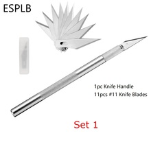 ESPLB Metal Scalpel Knife Blades #11 Non-slip Cutter Engraving Craft Knives Blades for Mobile Phone Laptop PCB Repair Hand Tools cheap Electrical Aluminum Stainless Steel Fixed Blade Knife