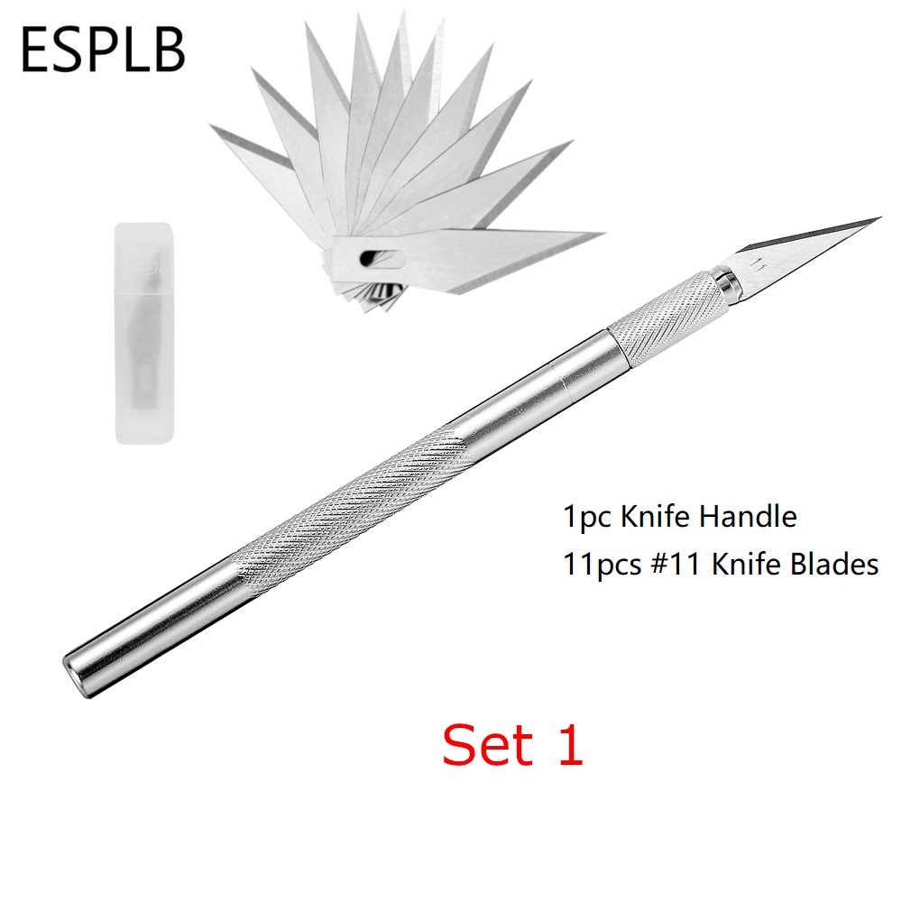 ESPLB Metal Scalpel Knife Blades #11 Non-slip Cutter Engraving Craft Knives Blades for Mobile Phone Laptop PCB Repair Hand Tools(China)