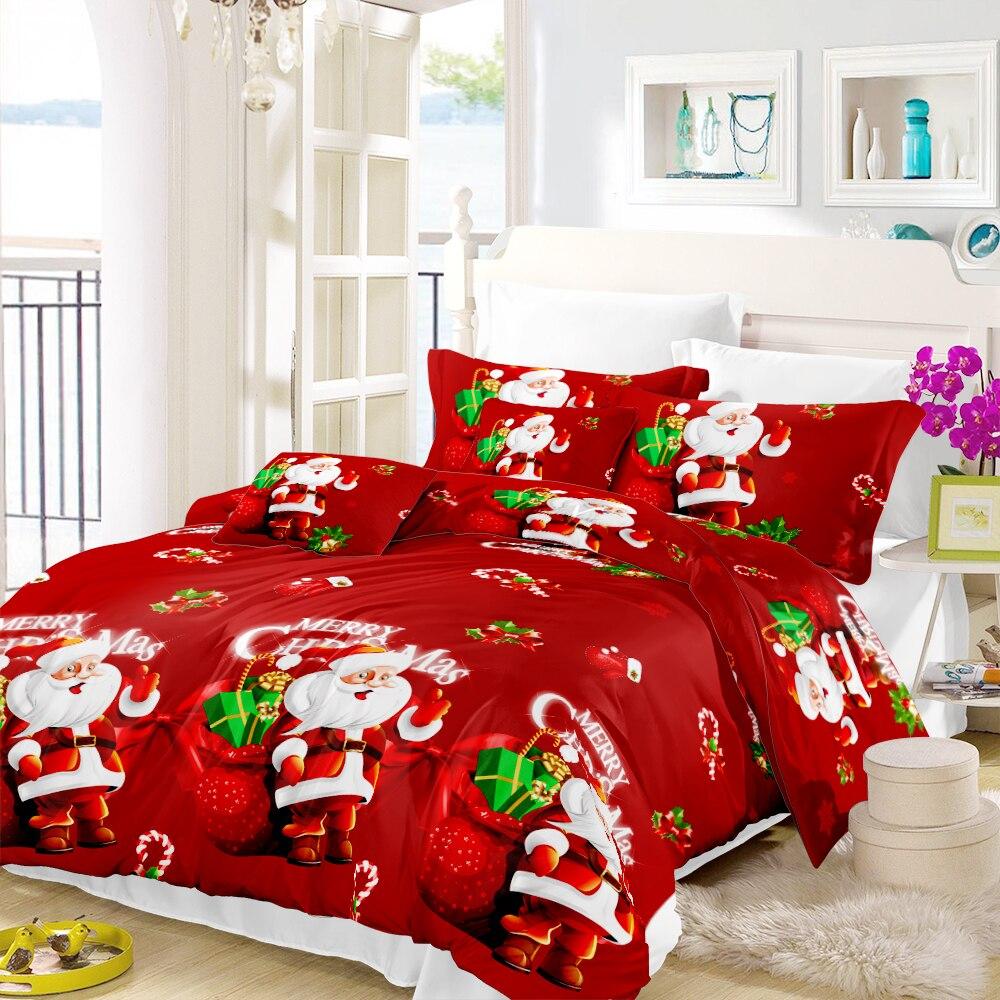 Красный Рождественский фестиваль Beddinmg комплект милый Санта Клаус мультфильм печати пододеяльник наволочка простыня King queen постельные прин...