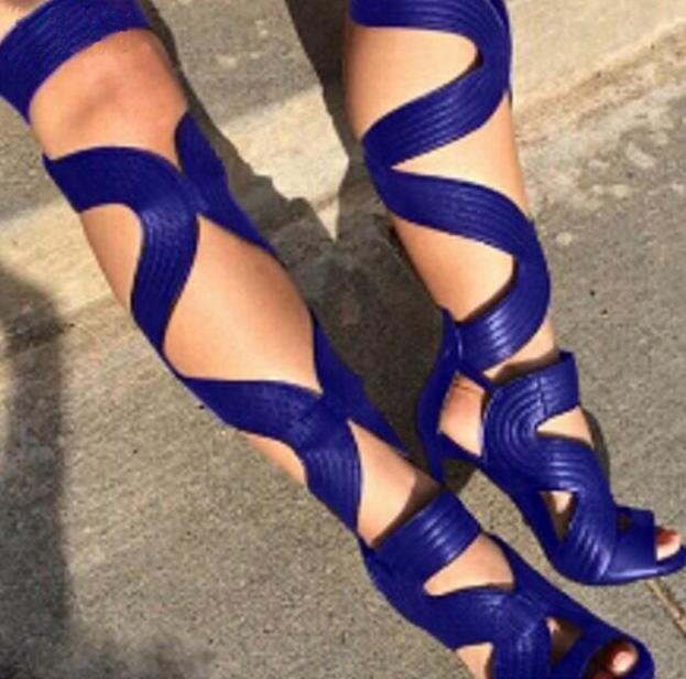 Leather Straps Cross Women Over The Knee Gladiator Sandals Lace Up Back Thin High Heel Ladies Sexy Summer Shoes Free Style