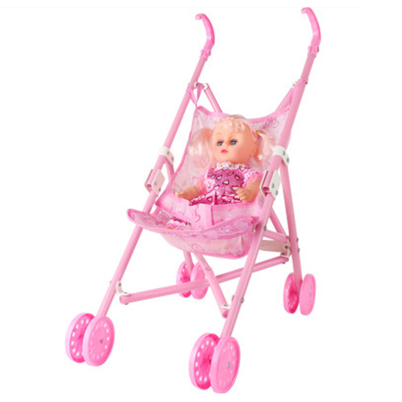 1 set 50 42 22cm Strollers for Dolls Toy with Baby Girl Doll Carriage Collapsible Stroller Accessories Cart Girls Toys Gifts in Dolls from Toys Hobbies
