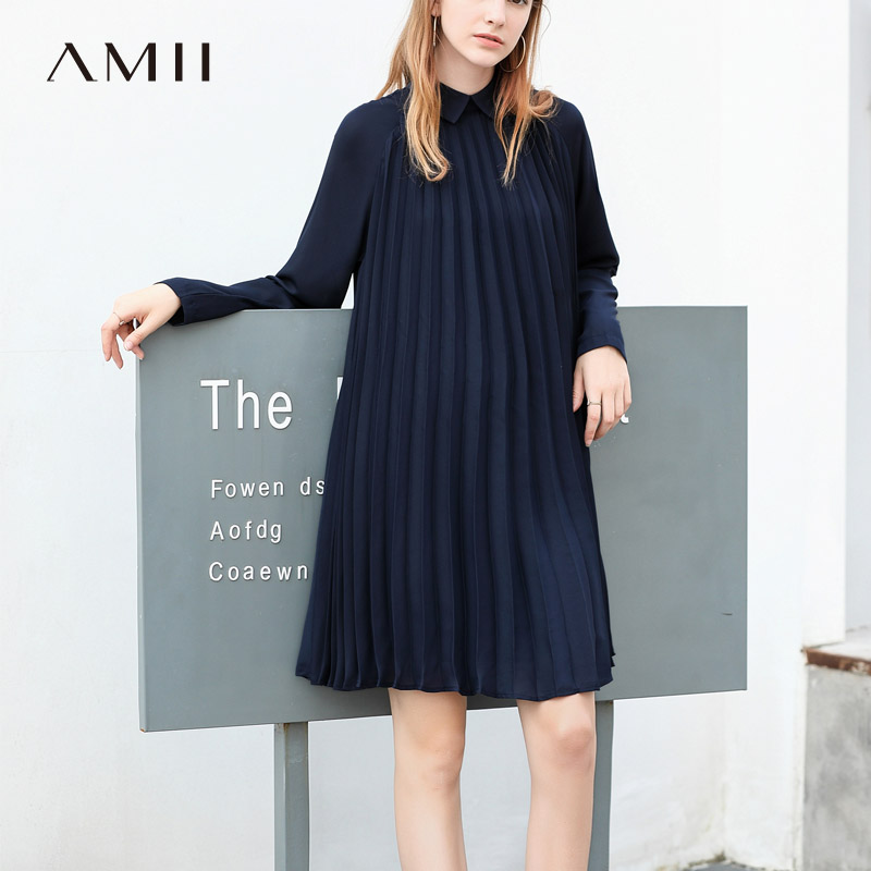 Amii Minimalist Women Midi Dresses Autumn 2018 Preppy Style Solid Long Sleeve Notched Collar Female Causal Dress-in Dresses from Women's Clothing    2