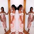 Off the Shoulder Coral Lace branco Appliqued da sereia Tea duração dama vestido curto