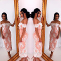 Off the Shoulder Coral White Lace Appliqued Mermaid Tea Length Bridesmaid Dress Short