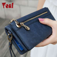 High Capacity Fashion Women Wallets Long Pu Leather Wallet Female Double Zipper Clutch Coin Purse Ladies