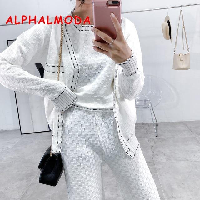 a41c86b351b ALPHALMODA OL Casual 3pcs Knitting Suits Long-sleeved Cardigans + Short- sleeved Bottom Shirt + Pants Women Elegant Work Wear