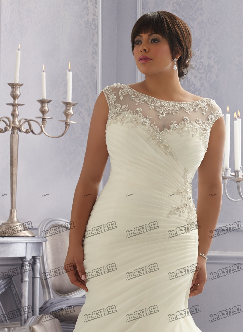 Hot Sale New Arrival Fashion Cap Sleeves Scoop Mermaid White Cheap Plus  Size Wedding Dresses Affordable Plus Size Wedding Gown-in Wedding Dresses  from ... 6ad42719c10e