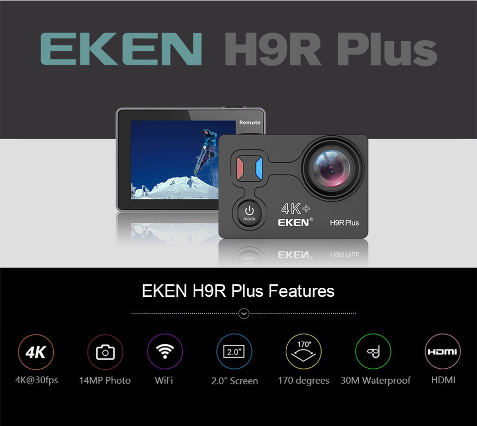 EKEN Action camera H9R Plus Ultra HD 4K/30fps 1080p/60fps WiFi 2.0 14MP Ambarella A12 underwater waterproof Helmet Cam Sportcam 2017 arrival original eken action camera h9 h9r 4k sport camera with remote hd wifi 1080p 30fps go waterproof pro actoin cam