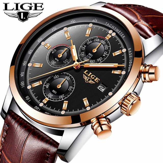 Mens Watches Top Brand Luxury Leather Quartz Watch Men Military Sport waterproof Gold Watch