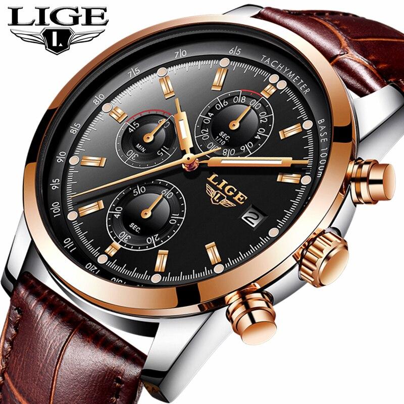 b74d2b12d8f 2018 LIGE Mens Relógios Top Marca de Luxo de Couro Relógio de Quartzo Homens  Esporte Militar à prova d  água Relógio de Ouro Relógio Relogio masculino