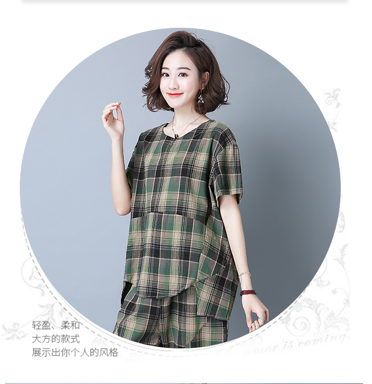 2019 Summer Plaid Cotton Linen Two Piece Sets Outfits Women Plus Size Short Sleeve Tops And Cropped Pants Casual Suits Red Green 49