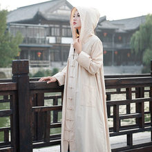 3cd297df76 2018 New Autumn Vintage Witch Cotton Linen Autumn Winter Robe Long Cardigan  Coats Solid Color Hooded Loose Women Coats Plus Size