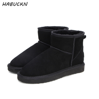 HABUCKN real leather short ankle suede UG snow boots for women wool fur lined winter shoes with snow boots red brown black