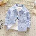 Рубашка младенца 0-3y мальчики девочки младенцев одежда 2016 весна хлопок мода маленькие дети рубашки с длинным рукавом ребенка детей tos одежда